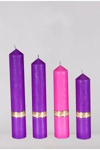 Zestaw 4 świec fiolet i róż, stopniowane [A2]
