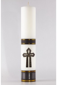 Świeca ołtarzowa pogrzebowa - Krzyż wstążka, duża [Pg2]